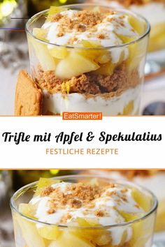 Trifle mit Apfel und Spekulatiusbrösel Trifle with apple and speculoos crumbs - smarter - calories: 257 kcal - time: 20 min. Winter Desserts, Christmas Desserts, Trifle, Mexican Food Recipes, Snack Recipes, Cinnamon Cream Cheeses, Pumpkin Spice Cupcakes, Eat Smarter, Calories
