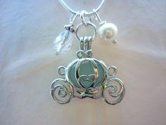 Sea Glass Necklace Locket Aqua Blue Cinderella Coach  TheMysticMermaid