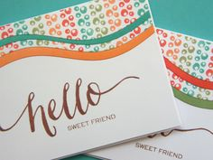 Kara Vrabel for WPlus9 featuring the Pure Color Dye Ink South Beach Collection, Spring Blooms Stamp Set, and Hand Lettered Hello Stamp Set