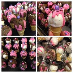 Mini ice cream cone cake pops.