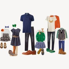 family picture outfits. grey, emerald, orange, blue, leopard, polka dot, gingham, gold