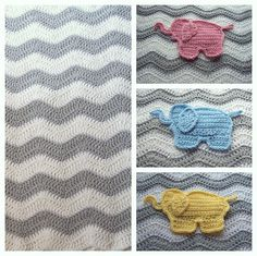 This gray chevron crochet baby blanket features your choice of pink elephant, blue elephant or yellow elephant. Your crochet blanket is perfect