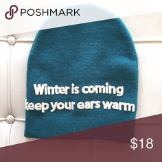 [zara] graphic beanie Winter is coming. keep your ears warm --- How much more doomsday can you get right? 😝 I bought it Bc I loved what it said but I ended up never wearing it. NWOT. Zara Accessories Hats
