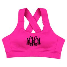 Please check our FAQ Page for current production times on in stock items.  This Monogrammed Criss Cross Bra is the perfect addition to your athletic wardrobe.  Pair it under our Monogrammed Zen Hoodie for morning yoga or just wear it alone with our Core Capris for those intense cardio workouts!  Whatever the need, you are sure to love this one!  Monogram it to make it your own personal style!
