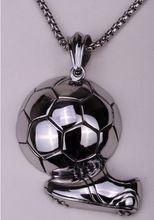 Fútbol collar para mujeres de los hombres de acero inoxidable 316L colgante W cadena de joyería al por mayor de dropship del motorista pesado GN105(China (Mainland))