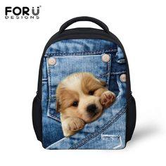 b50a33de1e7 FORUDESIGNS Denim Pocket Animal Book Bags Kids Cute 3D Labrador Cat Fashion  Children School Bags Mini. Backpacks ...