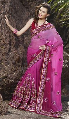 G3 fashions Magenta Georgette Shaded Wedding Wear Saree.  Product Code : G3-LS10261 Price : INR RS 9240