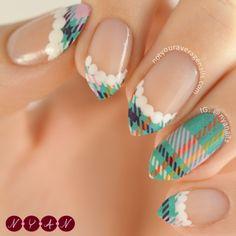 Plaid Tips nail art by Becca B