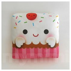 "Decorative Pillow, Cupcake Pillow, Rainbow Sprinkles, Birthday Party, Stuffed Toy, Kawaii, Kids Room Decor, Dorm, Mini Pillow, 7 x 7"" on Etsy, $18.00"