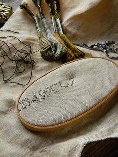 Primitive Stitchery, Wooden Hoop, Pin Cushions, Cross Stitching, Needlepoint, Folk Art, Needlework, Embroidery, Sewing