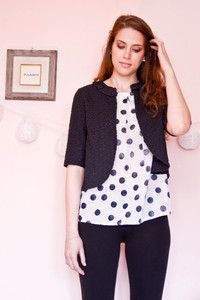 sangallo jacket and dot printed top for a fresh and romantic look