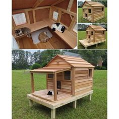 Cats Toys Ideas - Luxurious Outdoor Cat and Dog Homes For Your Furry Friends! get some yourself some pawtastic adorable cat shirts, cat socks, and other cat apparel by tapping the pin! - Ideal toys for small cats Niche Chat, Outdoor Cats, Cat House Outdoor, Outside Cat House, Outdoor Sheds, Outdoor Cat Shelter Diy, Outside Cat Shelter, Outdoor Cat Enclosure, Cat Room