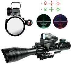 Spike 412X50EG Tactical Rifle Scope with Holographic 4 Reticle Sight Red Laser Combo Airsoft Weapon Sight Hunting ** Be sure to check out this awesome product. (This is an affiliate link) #AirsoftsightsOptics