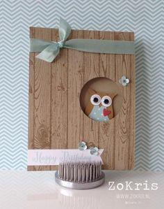 Chouette Stampin' Up! - Owl Punch, Hardwood, Remembering Your Birthday - ZoKris Handmade Birthday Cards, Greeting Cards Handmade, Owl Punch Cards, 3d Templates, Tarjetas Diy, Owl Card, Kids Cards, Baby Cards, Paper Cards