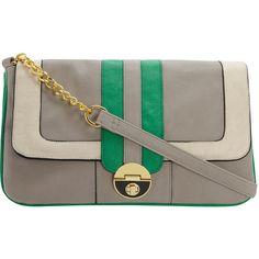 grey/green multi-gusset clutch
