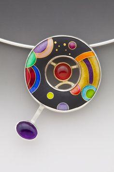 """Petite Galaxy"" - Anna Tai (enamel, amethyst, carnelian)"