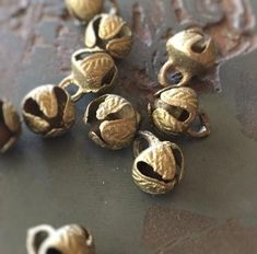 Jaipur Authentic Bronze Ghungroo Small Indian Jingle Bells (10) - Matte Brass - Ethnic and Exotic