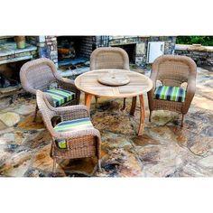 Darby Home Co Fleischmann 5 Piece Dining Set with Cushions Fabric: Echo Stripe Truffle, Wicker Finish: Mojave