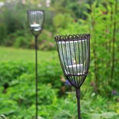 Rustic Lantern Stakes - set of 2 — The Worm that Turned #vintageinspired #gardengifts