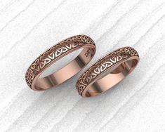 0964b3141631 Anillos Celta en oro rosa 18k anillos de compromiso anillos