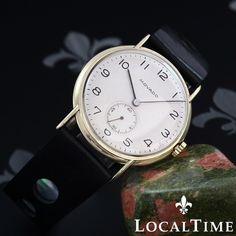 1940's MOVADO Vintage Gents 14k YG Dress Watch 15j 11.5 Ligne Movado Cal. 75 * PROFESSIONALLY RESTORED AND FULLY SERVICED *