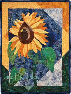 Art Quilt  Applique  Sunflower Applique Original by JaneLKakaley, $1,000.00