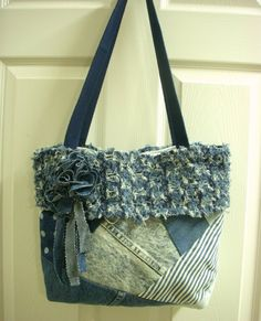 jeans pocket quilt | Recycled Blue Jean Denim Crazy Quilt Purse with Fabric by ljeans