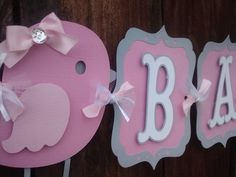 Bird Baby Shower Banner pink and gray by SweetBugABoo on Etsy.