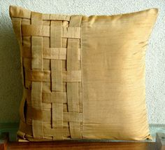 Pillow Sham Cover is made in Gold Brown color Art Silk Dupioni Fabric designed with a basket weave on the side to add texture on the pillow surface. A Contemporary design for your home.  The back of the pillow Sham is the same Gold Brown silk dupioni with a flap covered zipper for clean look and easy removal.  Pillow Sham Cover Size - 26 x 26 inches.  Other Size Options are also available in this Design. 16x16 inches…