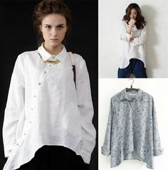 Plus Size Women Vintage Clothing Pockets Casual Ladies Long Shirts White Linen Shirt Womens Irregular Cotton Linen Big Shirts(China (Mainland))