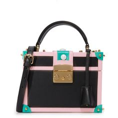 Mayra Fedane Lilly Trunk Bag (66,165 INR) ❤ liked on Polyvore featuring bags, handbags, multi colored leather purses, colorful leather handbags, mini handbags, real leather purses and leather handbags