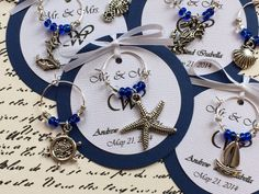 Custom Nautical Themed Wine Charm Favors - Weddings, Bridal Shower, Rehearsal Dinner, Anniversary, Birthday Party or Special Event on Etsy, $1.85