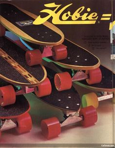 Vintage advertisement for Hobie skateboards…