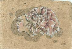 """""""Peony Girl II"""" by JUURI. Sweet little original drawing on natural jute paper. www.juuriart.com $75"""