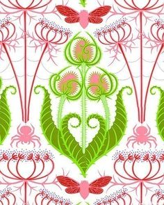 Jane Sassaman Teasel and Lace fabric in Strawberry, Prairie Gothic Collection
