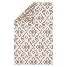 Wool flatweave rug with a damask-inspired motif.