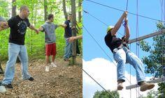 FSU ropes course with high and low elements.