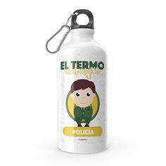 Termo - El termo del mejor policía, encuentra este producto en nuestra tienda online y personalízalo con un nombre. Water Bottle, Drinks, Carton Box, Letters, Store, Drinking, Beverages, Water Bottles, Drink