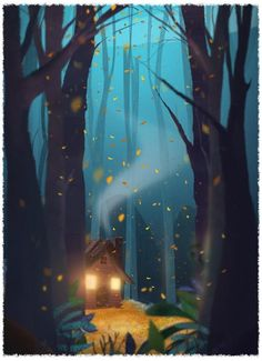 Super House In The Woods Illustration Forests Ideas Art And Illustration, Illustrations, Posca Art, Art Graphique, Environmental Art, Image Hd, Fantasy Art, Fantasy House, Book Art