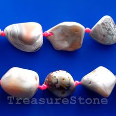 Bead, pink botswana agate, about 30 mm nugget. TreasureStone Beads Edmonton