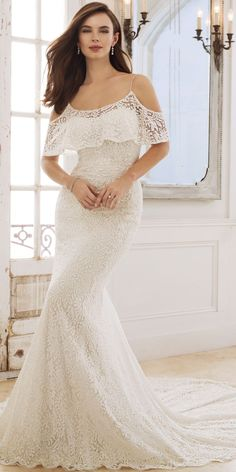 sophia tolli spring 2018 mon cheri bridals cold shoulder flutter sleeves beaded straps scoop neck sheath lace wedding dress (y11875 rhea) mv chapel train bohemian romantic -- Spring 2018 Wedding Dresses from Mon Cheri Bridals