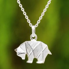 NOVICA Brushed Silver Bear Pendant Necklace in Origami Style ($30) ❤ liked on Polyvore featuring jewelry, necklaces, pendant, sterling silver, origami charms, silver bear pendant, bear pendant, silver pendant and pendants & necklaces