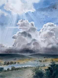 Wall decor - Field and clouds - Watercolor Painting Original artwork landscape cloudscape by HomelikeartStore on Etsy Watercolor Clouds, Watercolor Landscape Paintings, Watercolor Artwork, Watercolor Artists, Landscape Art, Winter Landscape, Simple Watercolor, Contemporary Abstract Art, Drawing