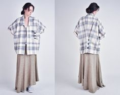 oversized woven plaid print oversized jacket by persephonevintage, $88.00
