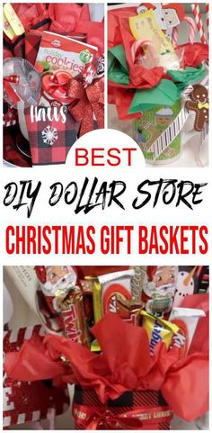 Easy DIY Dollar Store Christmas Gift Basket Ideas For Family – Friends – Couples – Kids – Co-Workers – Teachers – Men – Women – Cheap & Creative Holiday Ideas, basket ideas for couples gift baskets christmas Cheap Gift Baskets, Family Gift Baskets, Candy Gift Baskets, Diy Gifts Cheap, Teacher Gift Baskets, Snack Gift Basket, Gift Baskets For Kids, Cheap Presents, Fundraiser Baskets