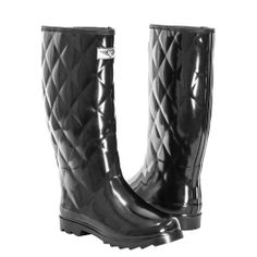 Amazon.com: Women's Quilted Waterproof Rubber Rain Boots * Tall Mid Calf Wellies Boots: Shoes