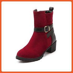 Women's Solid Blend Materials Kitten Heels Round Closed Toe Zipper Boots Red 35