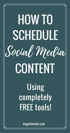 How to schedule your social media content using completely free tools. 4 video tutorials of how to use free tools to schedule posts. via @angiegensler
