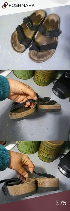 Birkenstock Black Suede Mayari sz 35 R Birkenstock Black Suede Mayari sz 35 R. Very good condition. Cork is excellent. Toes and heels are excellent. Soles shows no wear. Footprints shows.  Offers considered. Birkenstock Shoes Sandals