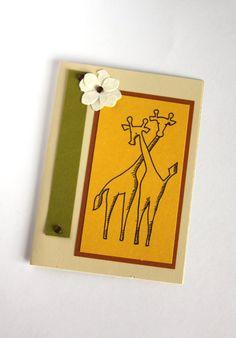 Safari Note Card Handmade Card Giraffe Card by Summertimedesign, $3.50